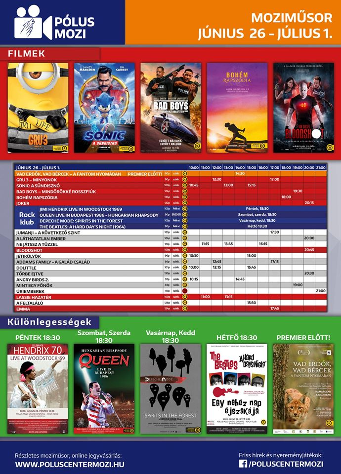 Pólus Moziműsor Movie Schedule Programme