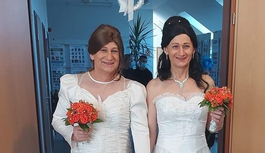 Transgender couple wedding