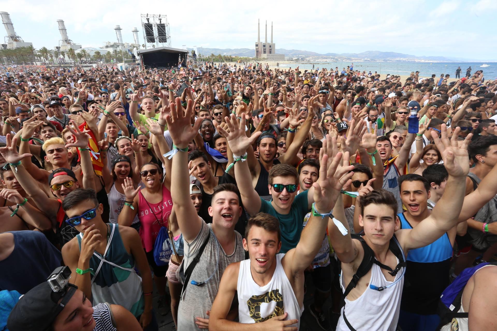 Spain Barcelona beach party