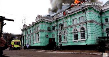 russian hospital burning