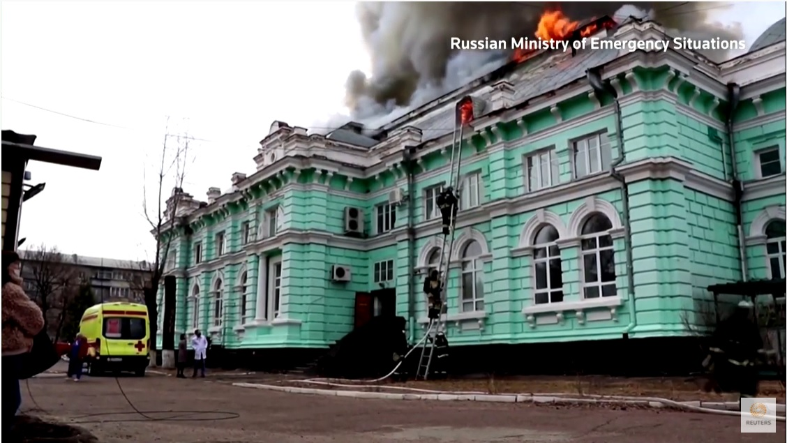 russian hospital burning