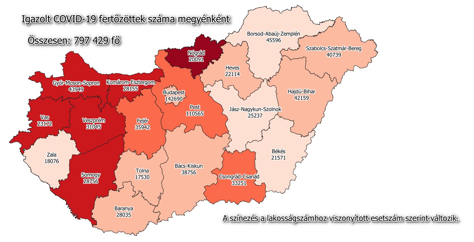 Coronavirus map Hungary