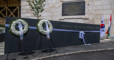 Memorial to victims of Danube boat collision inaugurated