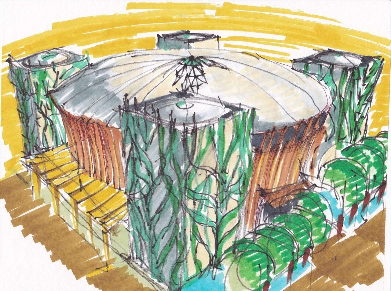 Dubai World Expo Hungarian Pavilion Sketch