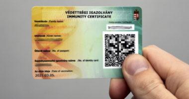Védettségi Igazolvány Immunity Certificate Plastic Card