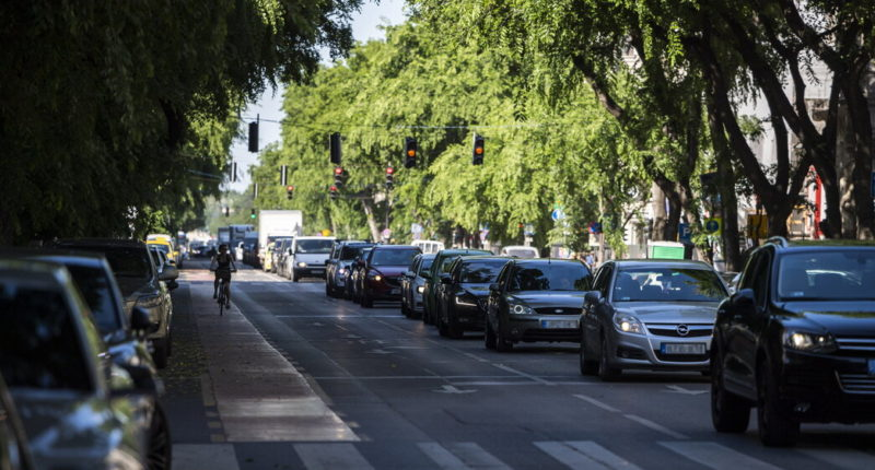 Budapest traffic jam
