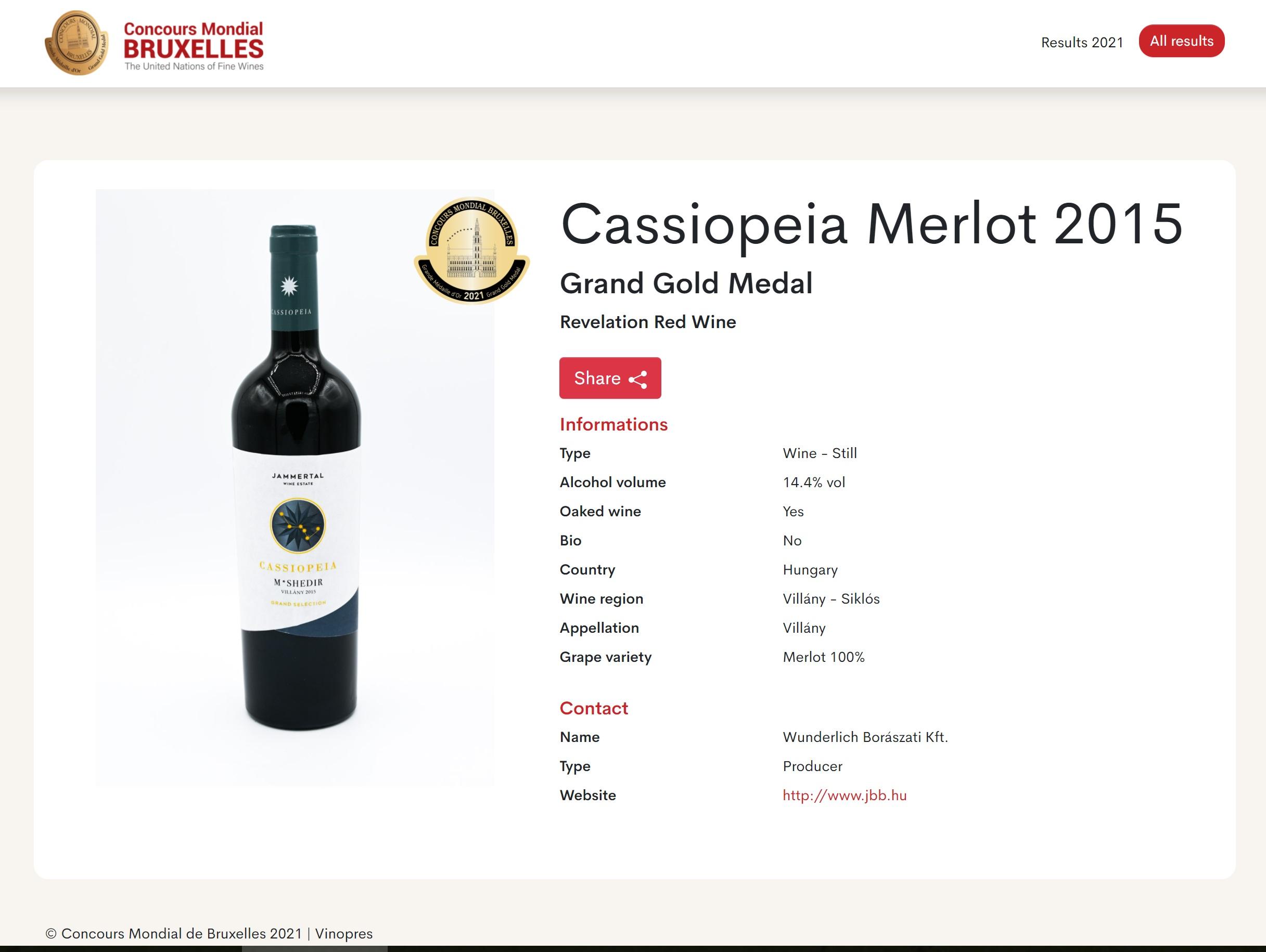 jammertal Cassiopeia Merlot 2015